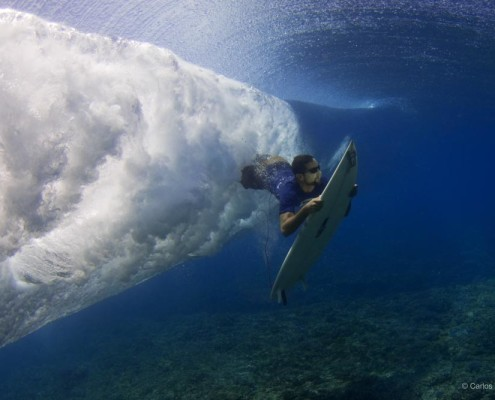Surfing in Fiji Duck diving frigates