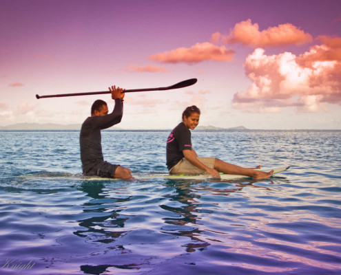 Resort Fiji Stand Up Paddle Fun in Glassy Colours