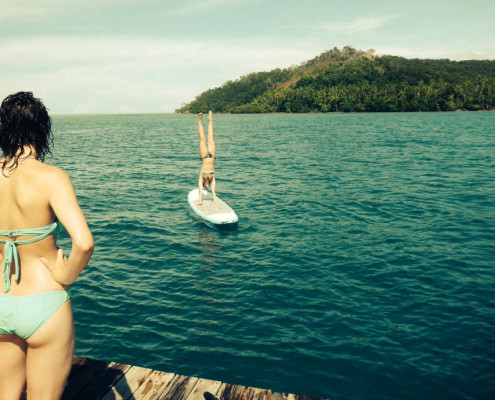 SUP Fiji Hand Stands on the SUP